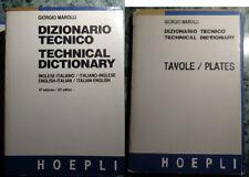 DIZIONARIO TECNICO INGLESE ITALIANO + TAVOLE GIORGIO MAROLLI HOEPLI 1991 AA/937