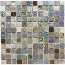 Cut down sample of iridescent mix glass & stone mosaic tiles