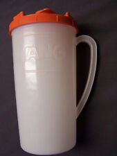 New listing Vintage 60s Tang Orange Drink Mix Opaque White Plastic 1 1/2 Qt Pitcher With Lid