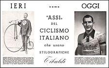 PUBBLICITA' 1953 PENNA STILOGRAFICA TIBALDI ASSI CICLISMO BARTALI FANETTI DEDICA