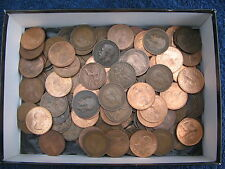 50 GOOD CLEAN ENGLISH COPPER PENNIES FROM KING GEO-V - GEO-VI AND QEII