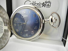 Colibri Silvertone Blue Face Pocket Watch New ! Reduced