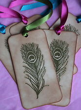 PEACOCK FEATHER-Gold Embossed-Wish Tree-Gift Tags-Vintage Style-Beautiful-WOW!