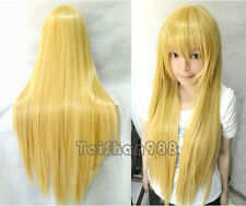 New Fashion Long Blonde Straight Women Lady Cosplay Anime Hair Wig Wigs +Wig Cap