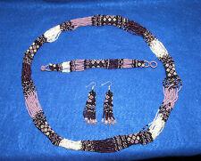 Beaded Necklace Bracelet & Earrings Matching Set New  RW5