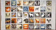 "Animal Silhouetttes Moose Wolf Cotton Fabric QT Woodland Spirit 24""X44"" Panel"