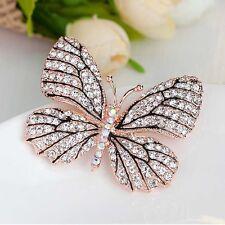 Full Rhinestone Crystal Butterfly Brooch Pin Gold Women Wedding Bridal Breastpin