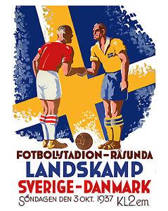 Sweden - Denmark Soccer Football Poster - 8x10 Color Photo