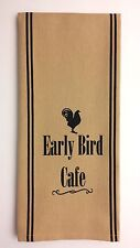 """EARLY BIRD CAFE 18"""" x 28"""" Cotton Towel with Rooster Black on Nutmeg-Tan"""