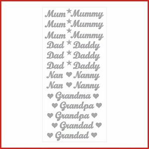 Mum Dad Nan Nanny Words Vinyl Stickers Letters peel & stick cards glasses gifts