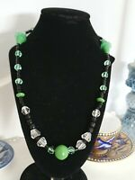 Lovely Art Deco Green Black And Clear Crystal Glass Bead Necklace