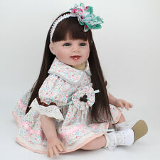 "22"" Reborn Baby Dolls Real Life Soft Vinyl Silicone Baby Girl Doll +Clothes"