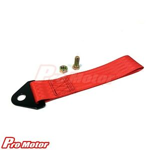 High Strength Sports Racing Tow Strap Set for Front Rear Bumper Towing Hook Red