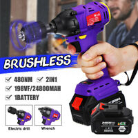 198VF 480NM 24800mAh Brushless Cordless Electric Impact Wrench Driver Drill Tool