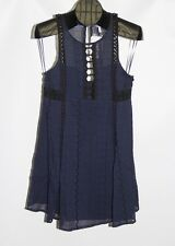 New Free People Navy Women's Size 6 Wherever You Go Crocheted Mini Dress