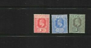 STAMPS  FIJI   1906-12 EDWARD VIII   COLOURS CHANGED  3 VALUES MINT HINGED