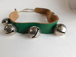 "6 Jingle Sleigh Bells on Green Leather Strap Christmas 23"""