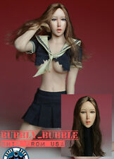 1/6 Female Head Sculpt w/ Tongue Long Brown Hair For Phicen Figure SHIP FROM USA