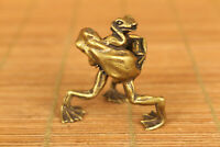 rare old bronze Hand carved Frog PK statue netsuke table lovely gift