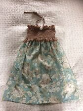 Delightful SUPER LUCKY CAT halter Neck Tunic-size 10. Light Blue/ Floral. VGC