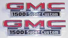 "1971 1972 Front Fender Emblems ""GMC SUPER CUSTOM"" NEW Pair  GMC Truck 71 72"