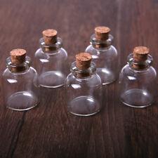 Lots 5 Pcs 22x28mm Empty Tiny Small Clear Cork Message Glass Bottles Vials 4ml
