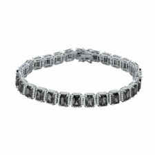 New Icy White Gold Finish Black Onyx Solitaire Simulated Diamond 8.5'' Bracelet