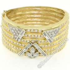 "Vintage Custom 14k TT Gold 12ctw Diamond Ribbed 6.25"" Wide Bangle Cuff Bracelet"