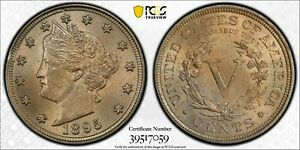 """1895 LIBERTY """"V"""" NICKEL PCGS MS 64 & CAC SATINY PALE GOLD OVER SILVERY PEWTER"""
