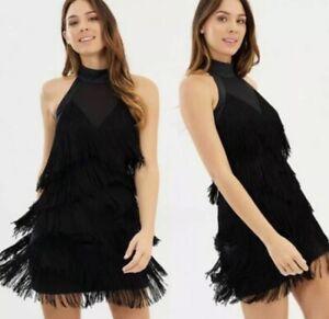 Karen Millen Black Fringed Tassel Gatsby Style Party Evening Occasion Dress UK12