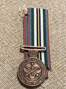 Mint Uncirculated Govt  Issue Original  Miniature National Service Medal Ref:J1