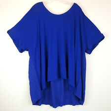 AVA & VIV Womens 4X Blue Stretch Knit Top Hi Lo Hem Short Sleeve Cute Print Back