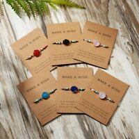 6pcs Handmade Make A Wish Natural Stone Braided Bracelet Bangle Women Jewelry