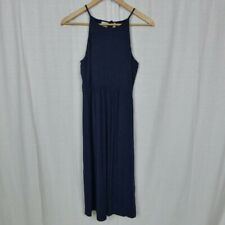 Ann Taylor LOFT Women's Solid Blue Sleeveless Dress Keyhole Back Casual Size XS