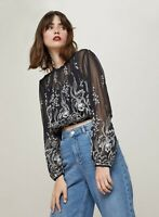 NEW RRP £39 Miss Selfridge Black Long Sleeve Contrast Embroidered Blouse (SS:27)
