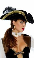 Velvet Pirate Hat Gold Lace Trim Feather Captain Admiral Navy Buccaneer 996443