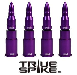 4 TRUE SPIKE PURPLE BULLET TIRE RIM WHEEL AIR VALVE STEM CAP FOR DODGE CARS