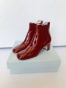 BNIB Rayne London Patent Red Booties, Sz 40