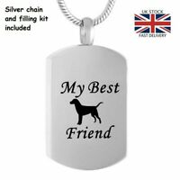 Pet Dog My Best Friend Cremation Urn Pendant Ashes Necklace Funeral Memorial UK