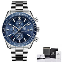 Benyar Herren Armband Uhr Blau Silber Farben Edelstahl Chronograph Datum Anzeige