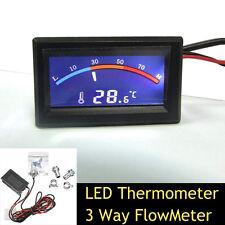 Termómetro de LED 3 Vías para Refrigeración Por Agua Caudalímetro sistema de refrigerador de líquido y 2 Púas