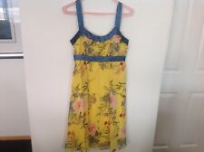 MEI MEI bright yellow floral dress with silk trim excellent condition size 10