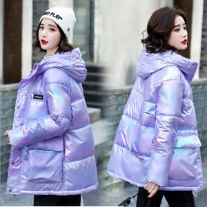 Women's loose fashion hooded shiny short pie overcoat parka