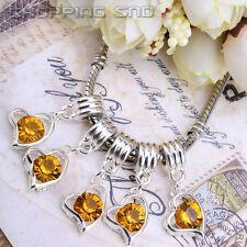 Silver Plated Heart Dangle Crystal Beads Pendant Charm Fit European Bracelets