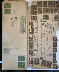 US 205 5c Grant x 28 on cover w/ 13 Mexico Wells-Fargo entires to France 1886