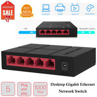5-Port Desktop Gigabit Switch Ethernet Network Switcher LAN Hub Splitter Adapter