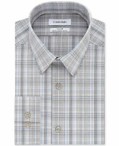 Calvin Klein Mens Dress Shirt Blue Gray Size 16 Slim Fit Stretch Plaid $79- 078