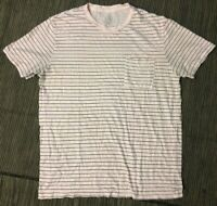 J Crew Adult Mens Medium Garment Dyed Tee T Shirt In Pink Stripe H8112