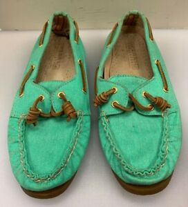 Sperry Top-Sider x J Crew Women 7.5 M Boat Shoes 2 Eye Canvas Mint Green 9826066