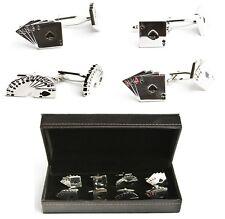 Playing Cards Poker Player Gambler 4 Pairs Cufflinks Wedding Fancy Gift Box